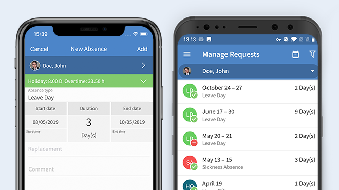 TimeTac Time Tracking App: manage holidays per department