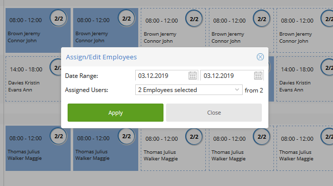 TimeTac Shift Work Planner: easily assign employees to shifts