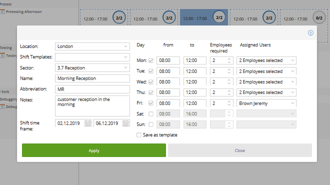 TimeTac Shift Work Planner offers easy shift templates