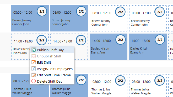TimeTac Shift Work Planner: quickly edit shifts